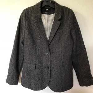 H&M tweed boyfriend blazer with elbow patches 10